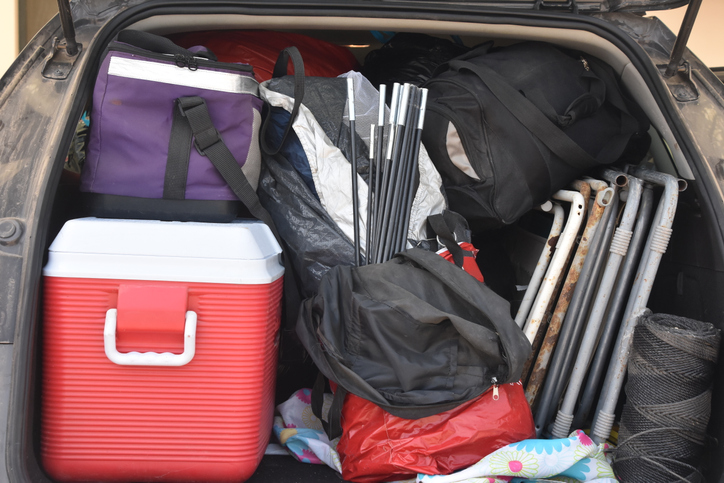 Camping equipment in the trunk of a vehicle