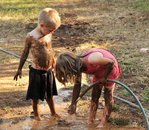 kids in mud, free from laundry