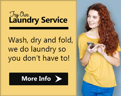 Try our laundry service, wash, dry and fold. We do laundry so you don't have to!