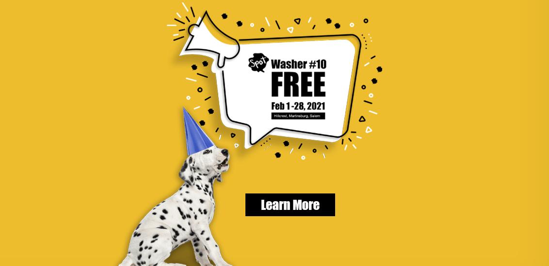Spot Laundromats Washer #10 is Free Feb 2021