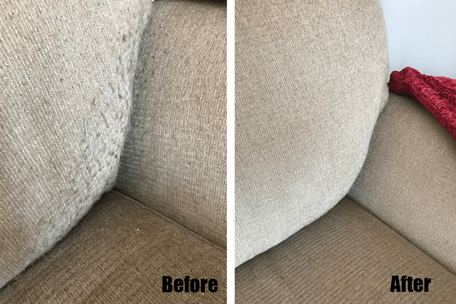 Pilling fabric on a sofa before and after pics