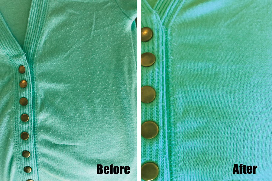 pilling fabric sweater before and after using a fabric shaver